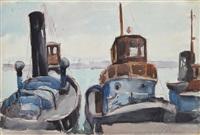 barche in porto by teonesto de abate