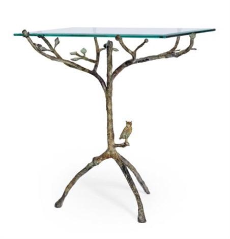 guéridon arbre de vie modele au hibou by diego giacometti