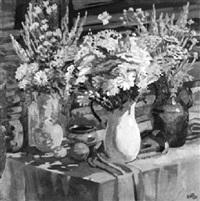 drei bunte frühlingssträuße in hohen vasen by ekatarina antropova