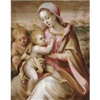 the madonna suckling the christ child with the infant saint john the baptist in a landscape by francesco del brina
