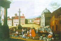 a vegetable market with figures by sybrand van beest
