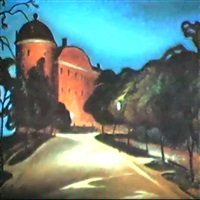 the castle of uppsala at night by ernst nilsson