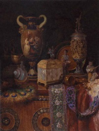 oriental treasures on a draped table by ludwig augustin