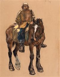 katwijkse visser te paard by willy sluijter