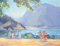 untitled - parasols on the promenade, lake como by leonard richmond