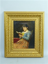 jeune femme à sa lecture by adriano cecchi