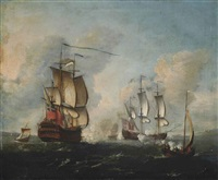 english warships under attack in the channel by francis swaine