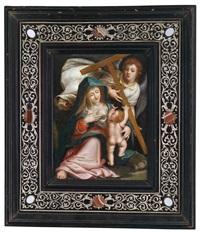 madonna mit kind und engel mit dem kreuzesstamm by johann mathias kager