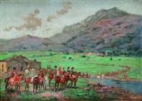 groupe d'officiers surveillant un détachement de cavalerie by emile chepfer