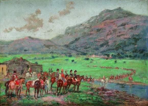 groupe dofficiers surveillant un détachement de cavalerie by emile chepfer