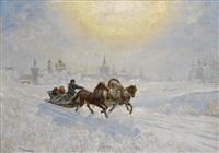 winter kremlin scene by rokk karoly