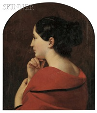 portrait in profile of a young woman with a red drape by jules (jean-françois-hyacinthe) laure