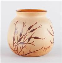vase en verre à coloration intercalaire au décor émaillé à froid de plantes aquatiques by françois théodore legras
