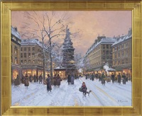 parisian winter street scene by paul renard