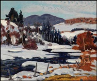 river in winter by randolph stanley hewton