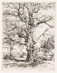 wayside inn--oaks in spring by childe hassam