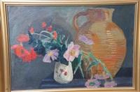nature morte au pichet et bouquet de fleurs by jules léon flandrin