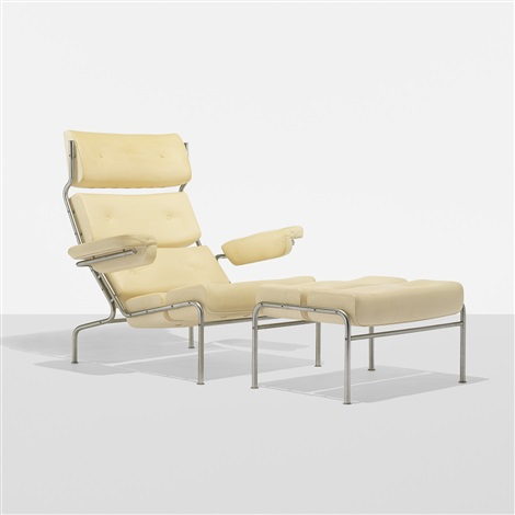 rare tv lounge chair and ottoman pair by arne jacobsen