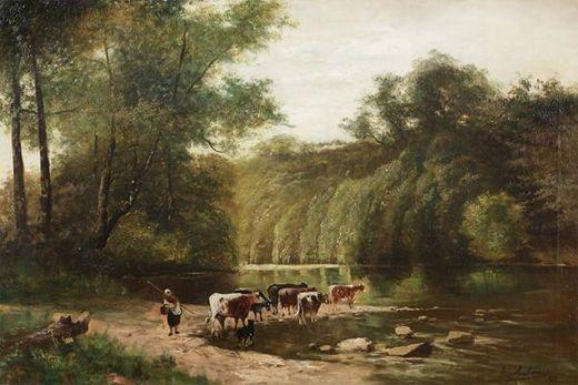 paysage accidenté animé d'une bergère avec des vaches et un chien près d'une rivière by a. anthonis