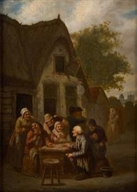les joueurs de cartes devant la taverne by j. g. buisson