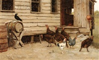 crow among the fowl, a barnyard scene by burr h. nicholls