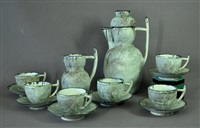 part tea set: pot, jug & 6 cup sets (14 works) by david and hermia boyd
