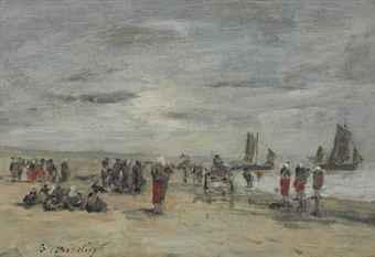berk pêcheuses sur la plage by eugène boudin