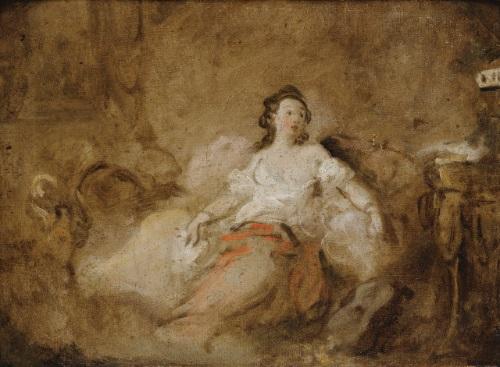 jeune femme en déshabillé dans un intérieur by jean honoré fragonard