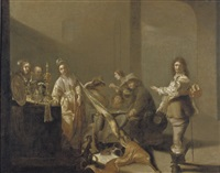 a guardroom interior with soldiers gambling and courtesans by jacob duck