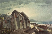 cottage and fishing boat on the beach by nils severin andersen