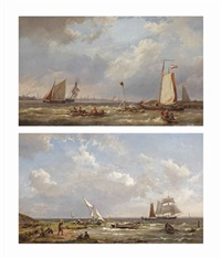 a view of the buiten-ij towards the zuiderzee; shipping on the ij, amsterdam beyond (pair) by hermanus koekkoek the elder