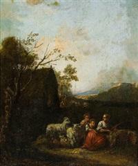 hirten und herde in einer landschaft by jacob van der does the elder