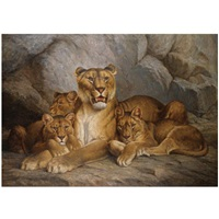 lioness and cubs by e. relin