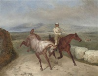 an extensive landscape with two racehorses and a jockey by joseph simon volmar
