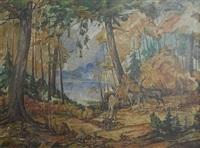 deer in forest by william joseph eastman