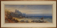 a coastal scene with a ruined castle on a clifftop and fishing boats leaving the shore by james burrell smith