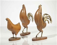 chickens (group of 3 works) by franz hagenauer