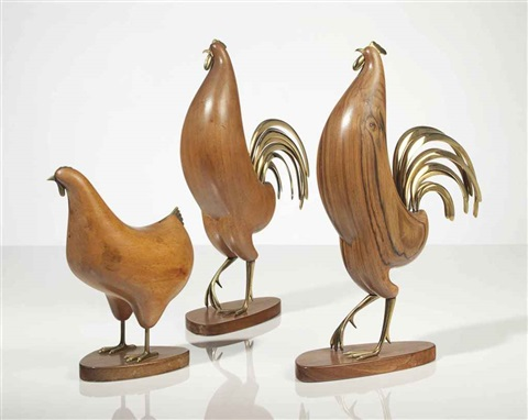 chickens group of 3 works by franz hagenauer