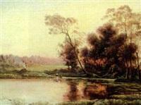 paysage animé au bord de l'étang by andre anglade
