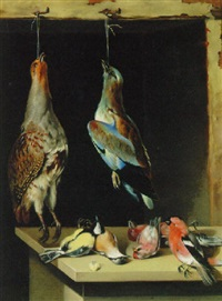 a partridge, a jay and finches by lambert van bokkelen