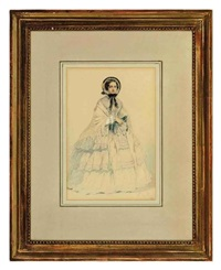 elegantly dressed woman (+ another; 2 works) by edmond morin