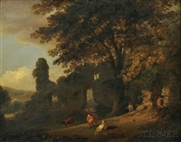 cows and farmers amidst ruins by julius caesar ibbetson