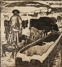 le troupeau à l'abreuvoir by edouard (eugène françois) vallet