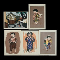 laughing boy; girl; girl carrying baby; village scene of aizu; children of aizu (5 works) by kiyoshi saito