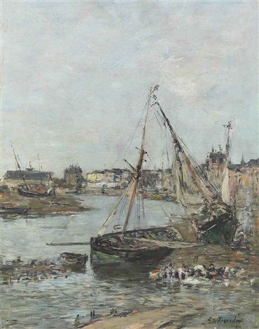 le port de trouville à marée basse by eugène boudin