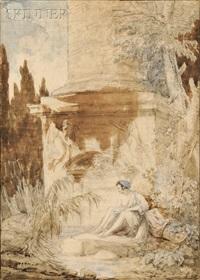 seated bather beside a classical column by hubert robert