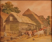 cattle being driven in a farm by robert hills
