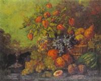stilleben mit früchten und blumenstrauß by marie weger-kleinbardt