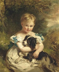 portrait of a young boy, full-length, in a white dress with blue bows, holding a spaniel, seated in a landscape by ramsay richard reinagle
