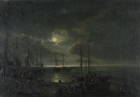 fischerboote am meeresufer bei gewitterstimmung by a. kreutzer